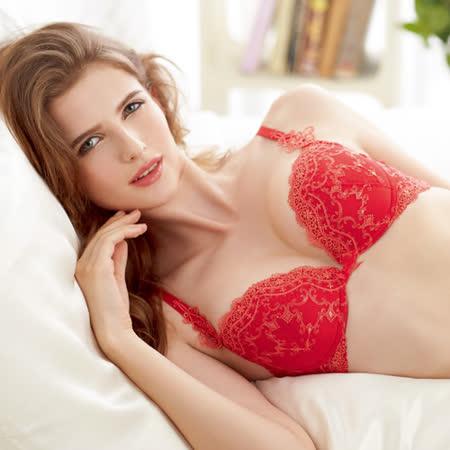 【Lofan露蒂芬】仙黛莉 手工刺繡美胸造波 C-D 罩杯-紅 VB6008-RED