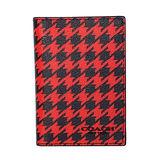 COACH 紅黑千鳥紋內真皮雙摺證件/票卡夾