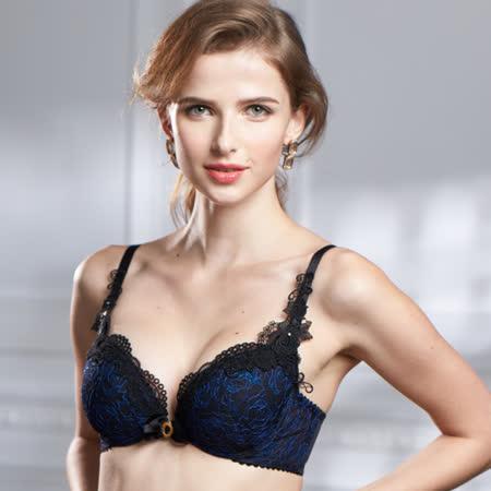 【Lofan露蒂芬】維也納 手工刺繡美胸造波 C-E罩杯-藍黑 BA1571-BKB