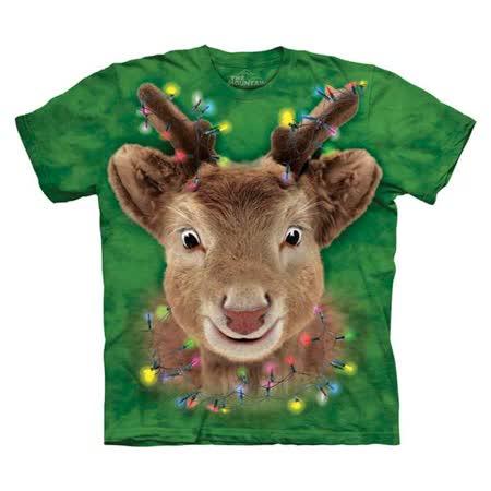 【摩達客】(預購) 美國進口The Mountain 聖誕燈麋鹿 純棉環保短袖T恤