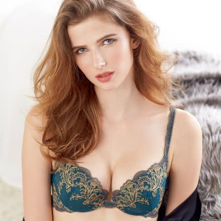 【Lofan露蒂芬】羅琳雅 手工刺繡美胸造波 C-E罩杯-藍 BA1581-BLG
