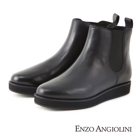 ENZO ANGIOLINI-低調切爾西厚底鉚釘短靴-經典黑