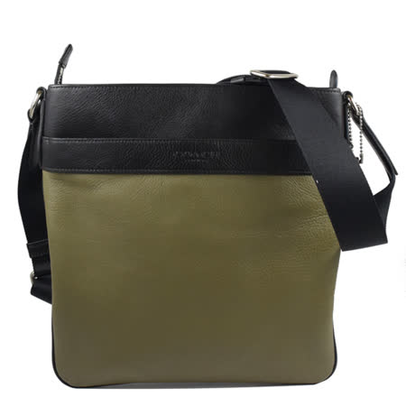 COACH 經典LOGO烙印撞色荔枝皮革斜背包.墨綠/黑