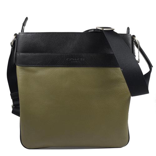 COACH LOGO烙印撞色荔枝皮革斜背包.墨綠黑
