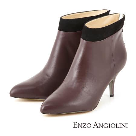 ENZO ANGIOLINI-時尚俐落雙色皮革尖頭高跟短靴-魅力紅