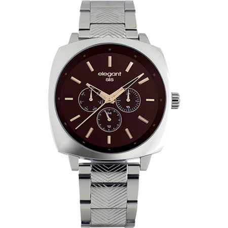 elegantsis 星際爭霸日曆腕錶-咖啡x銀/44mm ELJT25-VB03MA