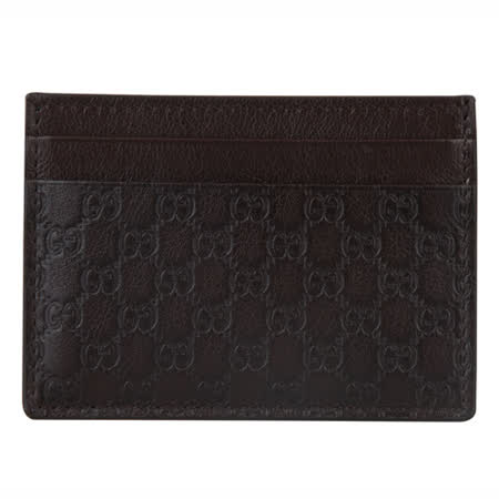 GUCCI micro guccissima皮革壓紋卡片夾(深咖啡)