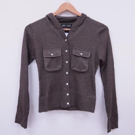 日本CIELO 現貨-水鑽釦連帽金蔥短版針織外套-咖啡/M