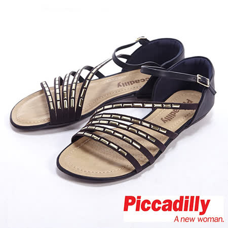Piccadilly(女)休閒綻放式鉚釘裝飾羅馬涼鞋-黑