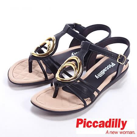 Piccadilly(女)金屬裝飾可扣式低跟夾腳涼鞋-黑