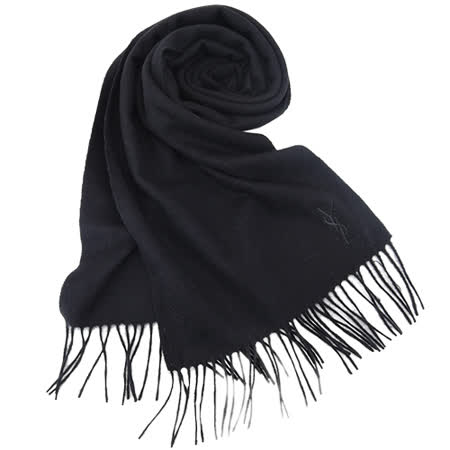YSL 刺繡LOGO羊毛披肩/圍巾(黑)