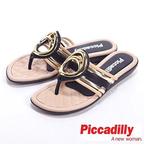 Piccadilly^(女^)低調奢華金屬裝飾低跟夾腳鞋~黑