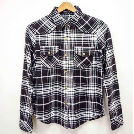 日本CIELO 現貨-格紋銅釦襯衫(黑/M)