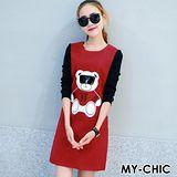 【預購MY-CHIC】韓系 吸晴墨鏡小熊異材配色長袖毛呢連身裙3562(2色)