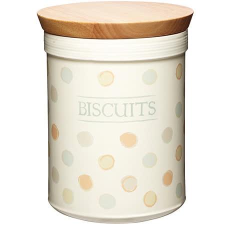 《KitchenCraft》餅乾木蓋陶罐(復古點)