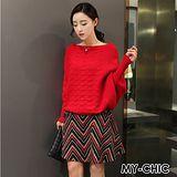 【預購MY-CHIC】韓系 一字領蝙蝠袖針織衫+鋸齒紋毛呢短裙套裝8335(2色)