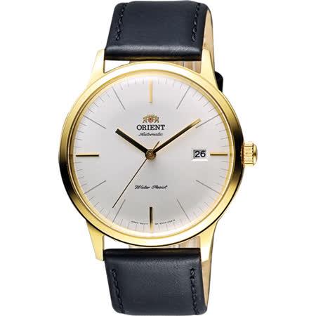 ORIENT 都會極簡純粹機械腕錶-銀x金框/40mm FER2400JW