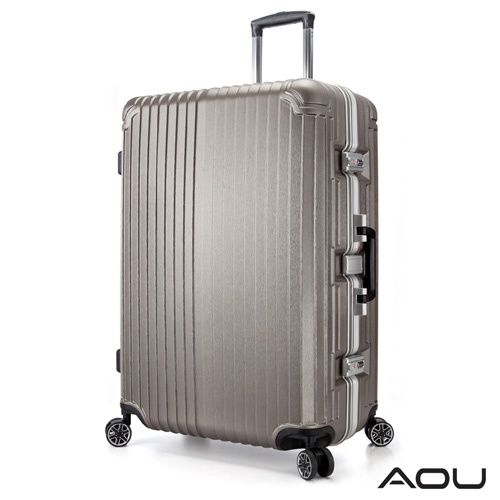 AOU 絕美 系列 升級版 20吋100^%PC防刮亮面飛機輪旅行箱 ^(香檳金^) 90