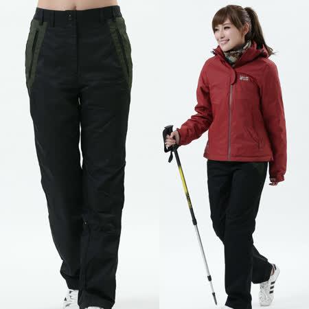 【遊遍天下】女款顯瘦直筒配色防風防潑水透氣禦寒刷毛保暖褲/ 防風雪褲P105黑