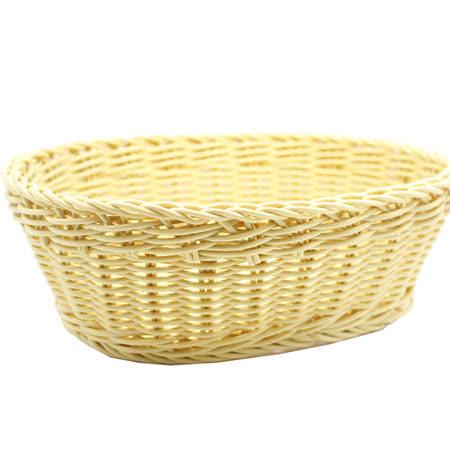【收納職人】鄉村風收納裝飾編織置物籃PP藤編籃(橢圓L米黃)