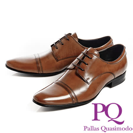 PQ(男)紳士綁帶線條尖頭皮鞋男鞋-棕