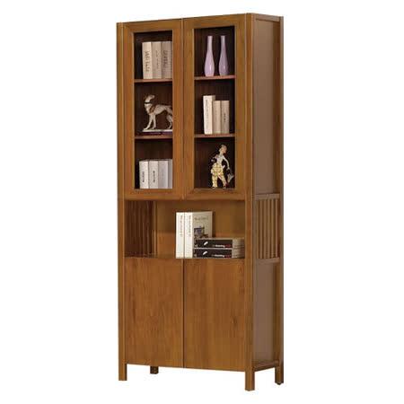 【愛麗娜】Tyrande 2.7尺實木四門書櫃/收納櫃