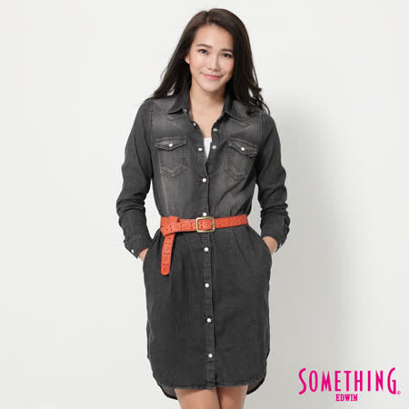 SOMETHING 寬鬆長版牛仔襯衫-女-灰色