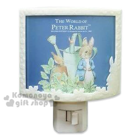 〔小禮堂〕彼得兔 LED造型小夜燈《深藍.水壺.浮雕.半圓形》可手動式開關