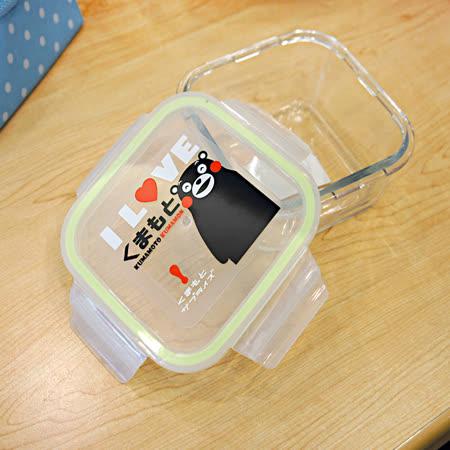 【百貨通】KUMAMON 熊本熊密扣式玻璃保鮮盒-方(700ML)