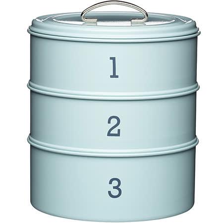 《KitchenCraft》復古三層點心密封罐(藍)