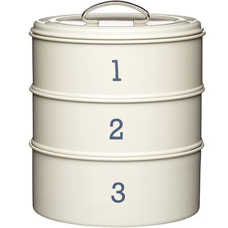 《KitchenCraft》復古三層點心密封罐(奶油黃)