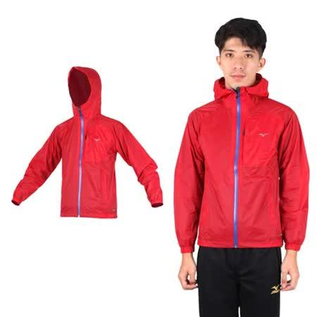 (男) MIZUNO 風衣外套- 路跑 慢跑 運動外套 美津濃 防潑水 紅藍