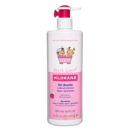 KLORANE蔻蘿蘭 兒童甜蜜莓果洗髮沐浴精 500ml (送賽吉兒隨身包3包) 媽媽小孩都開心~