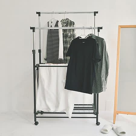 《Peachy life》簡約雙桿可伸縮雙層衣架/曬衣架