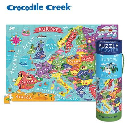 【美國Crocodile Creek】2合1海報拼圖系列-歐洲地圖