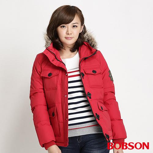 BOBSON 女款多口袋絲棉外套^(紅34107~13^)