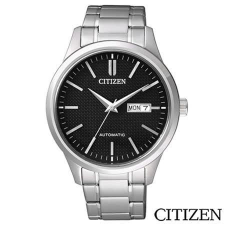 CITIZEN星辰 簡單俐落男仕機械腕錶-黑 NH7520-56E