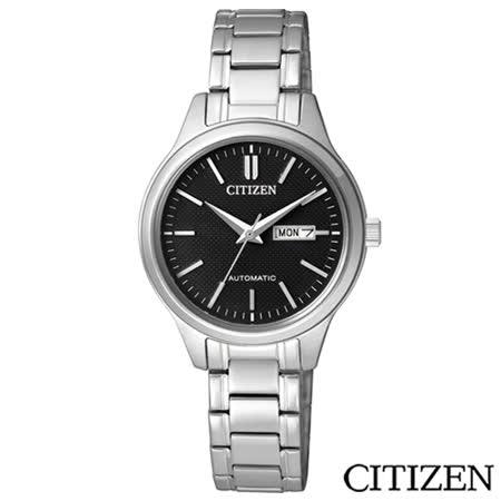 CITIZEN星辰 休閒時尚女仕機械腕錶-黑 PD7140-58E