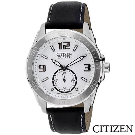 CITIZEN星辰 魅力小秒針都會時尚腕錶-白 AO3010-05A