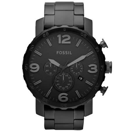 FOSSIL 大世紀戰神三眼計時腕錶-IP黑/50mm JR1401