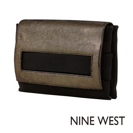 NINE WEST--皮革信封手拿包包--古銅金