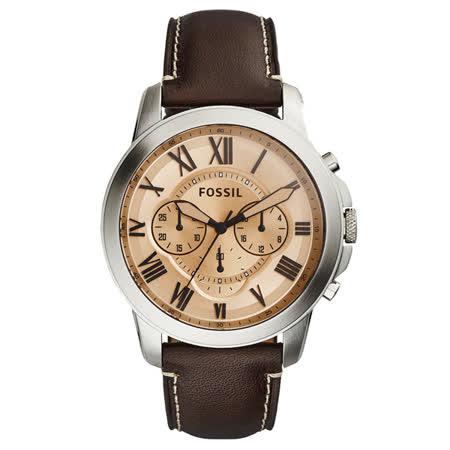 FOSSIL 古典伯爵三環計時腕錶-淺褐x銀框x咖啡色皮帶