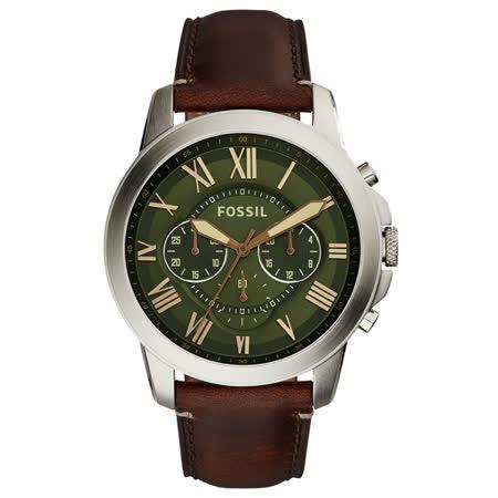 FOSSIL 古典伯爵三環計時腕錶-橄欖綠x銀框x咖啡色皮帶