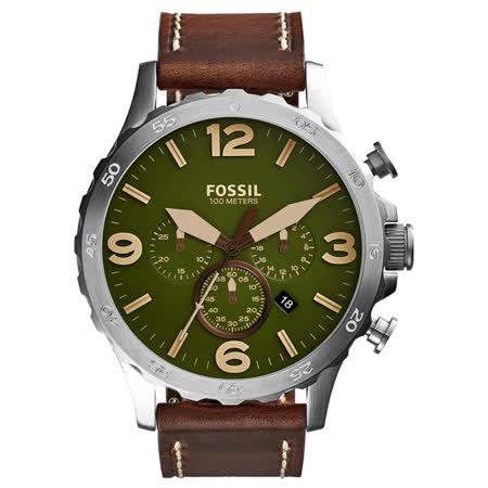 FOSSIL 重裝教士三眼運動計時腕錶-橄欖綠x銀框x咖啡色皮帶