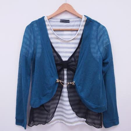 日本CIELO 現貨-針織罩衫+假兩件網紗拼接條紋上衣組(共三色)