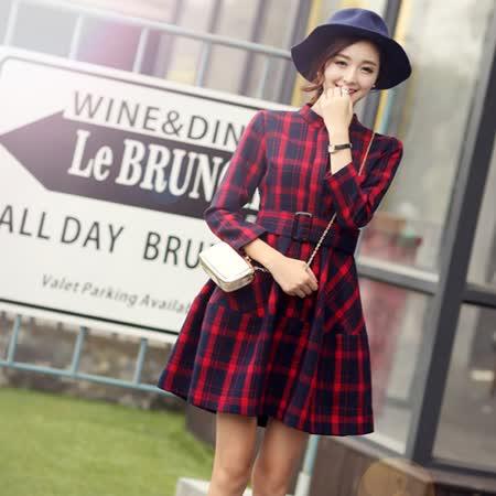 【Kate Classic 】英倫風立領收腰格子長袖洋裝DS162