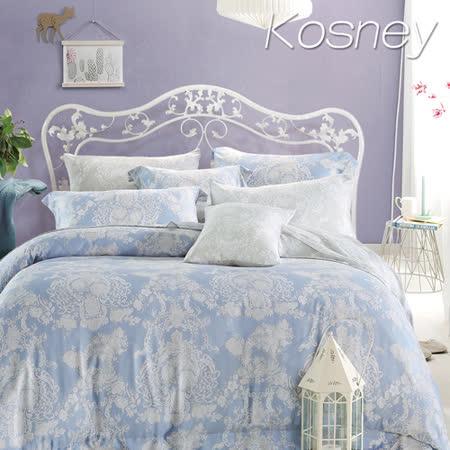 《KOSNEY 愛的華爾曼》特大100%天絲全舖棉四件式兩用被冬包組