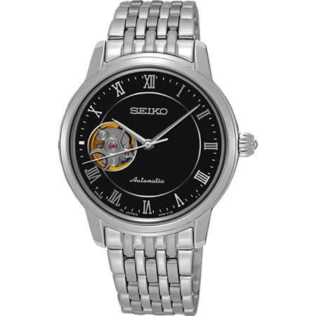 SEIKO Presage 羅馬時光開芯機械女錶-黑/34mm 4R38-01A0D(SSA855J1)