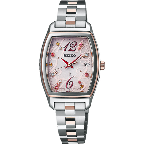 SEIKO LUKIA 聖誕 太陽能電波腕錶~粉x雙色版25mm 1B22~0AZ0KS^