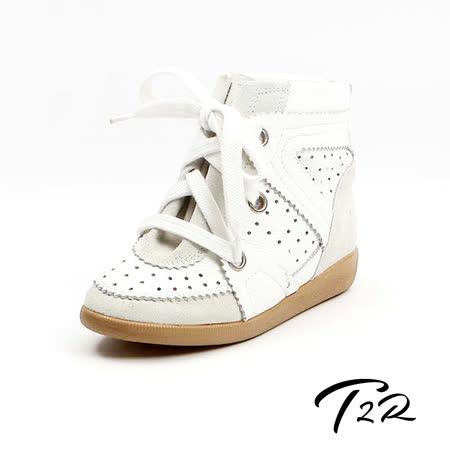 【韓國T2R】天然皮革綁帶花邊設計內增高休閒鞋 ↑6cm 白(5500-0765)